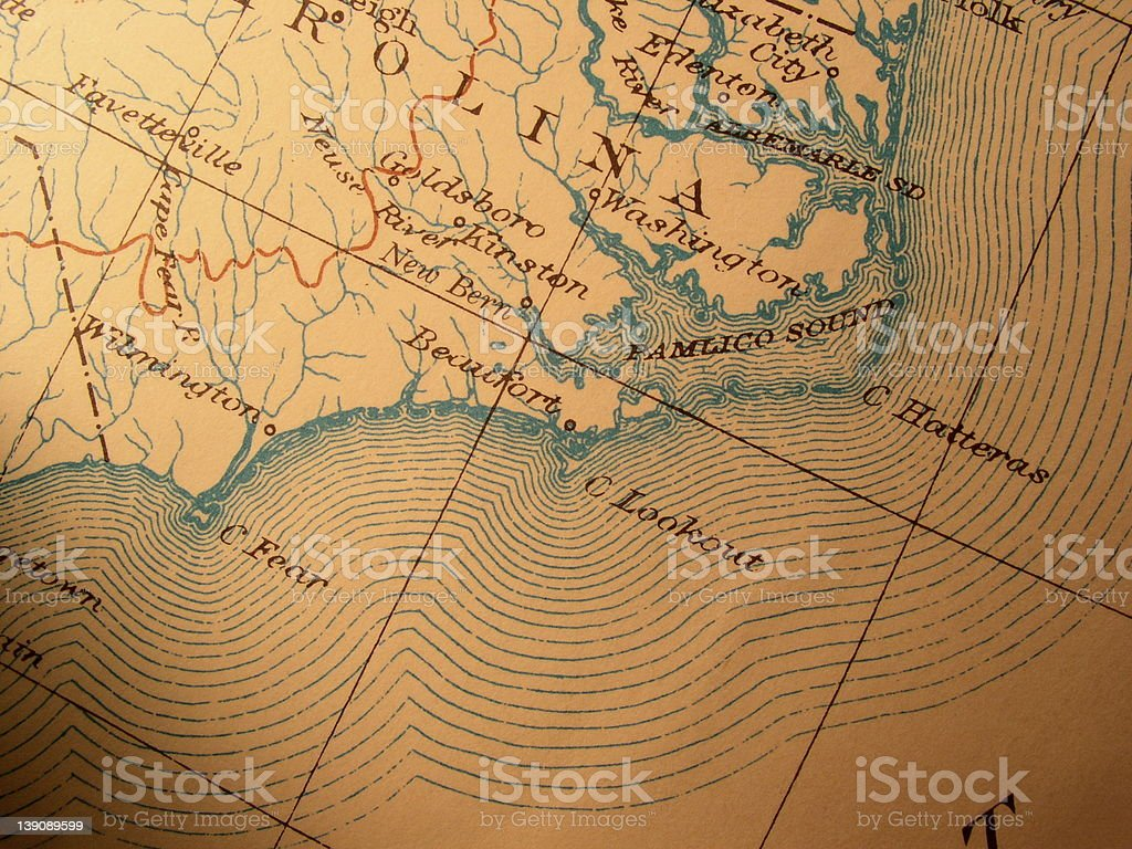 Antique map American Carolina coast stock photo