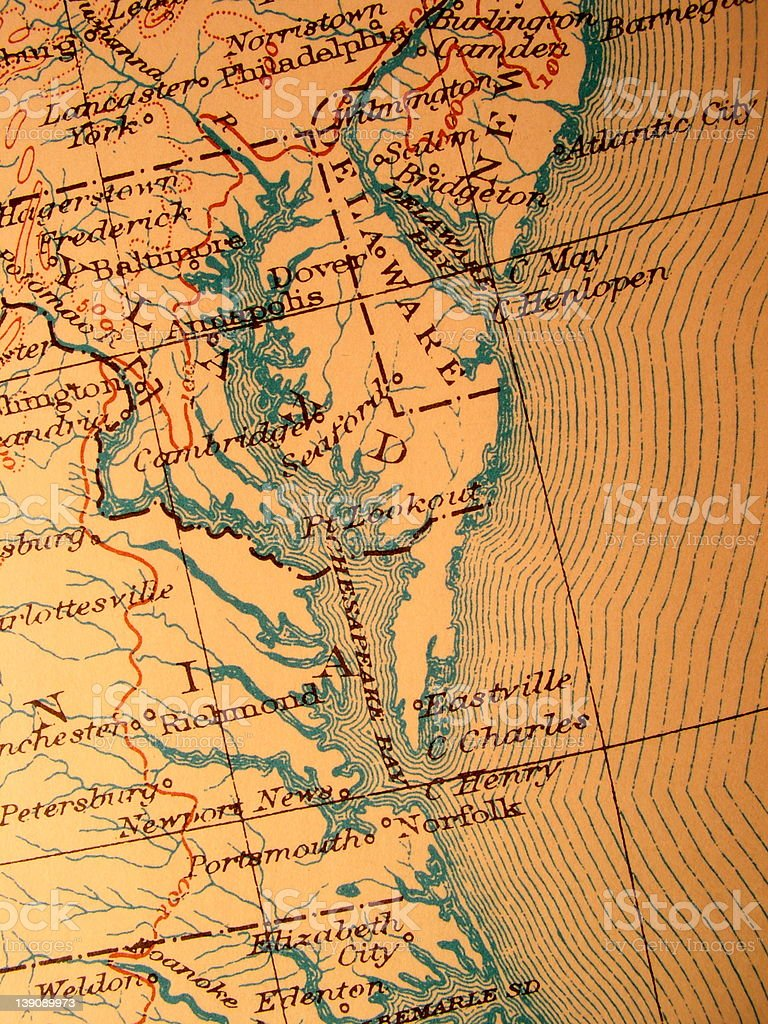 Antique map, American Chesapeake Bay stock photo