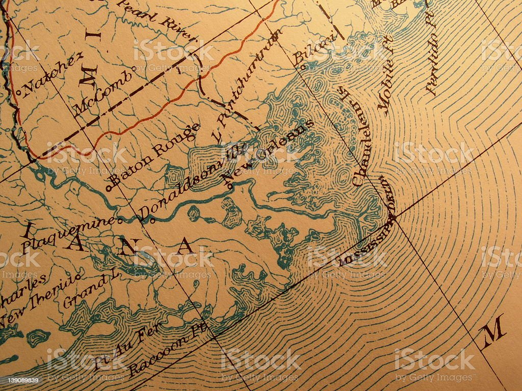 Antique map, American Gulf coast near New Orleans stock photo