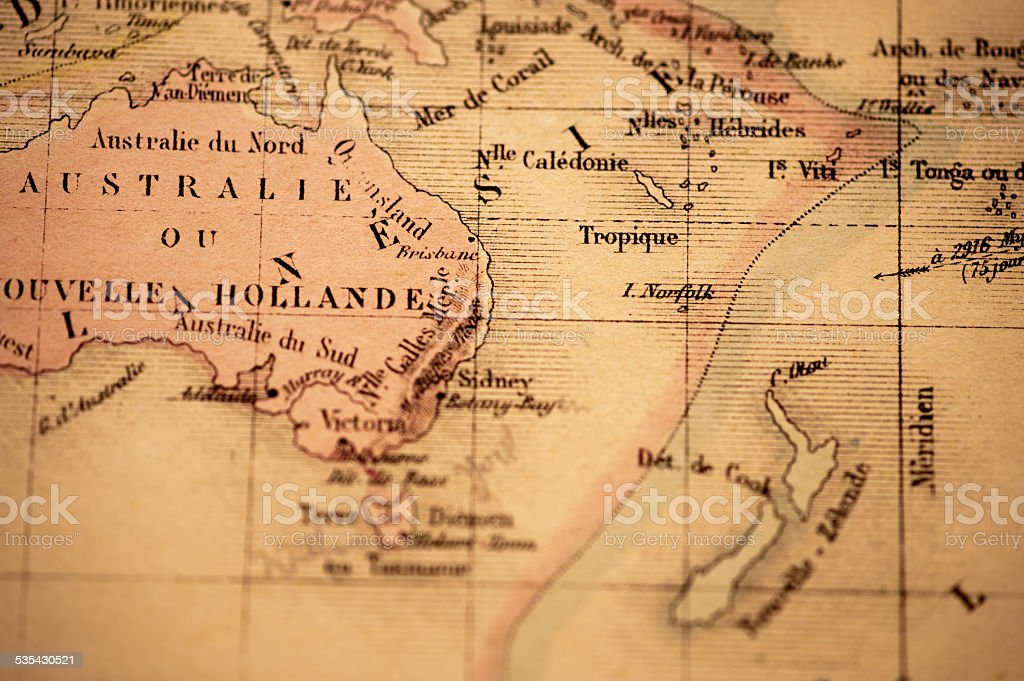 Antique Map | Australia & New Zealand stock photo