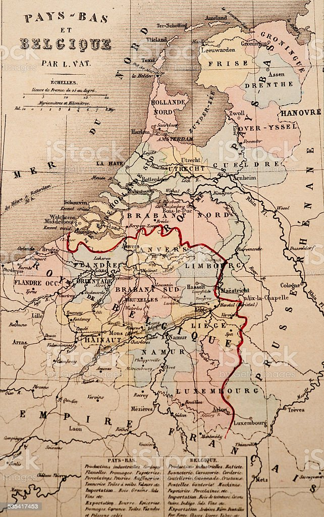 Antique Map   Belgium stock photo