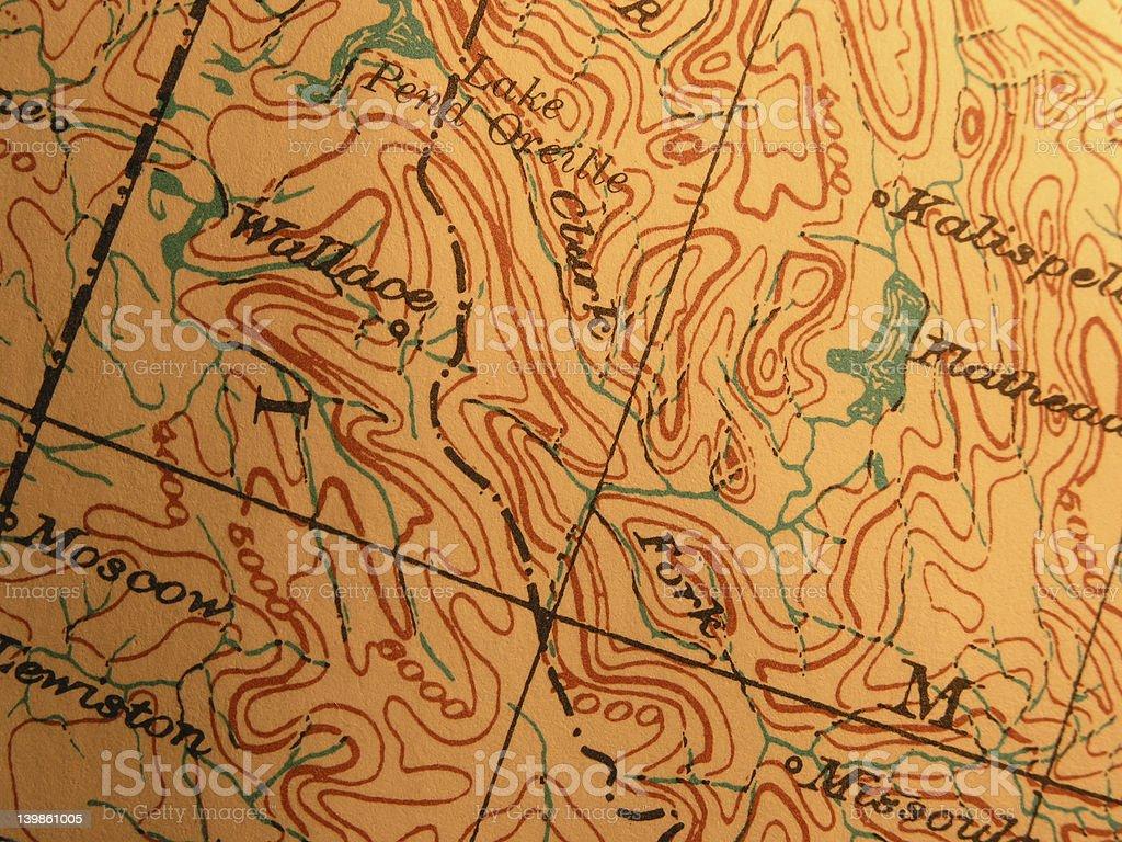 Antique map, Bitteroot Mountains Idaho stock photo