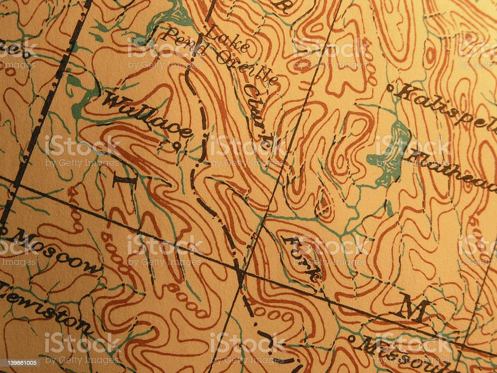 Antique map, Bitteroot Mountains Idaho stock photo