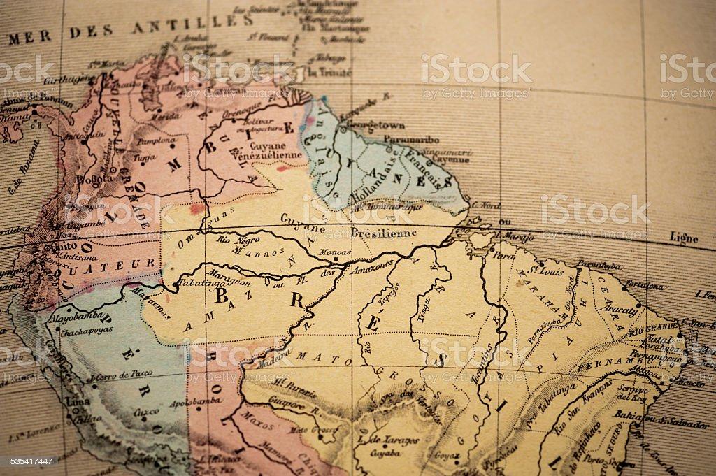 Antique Map   Brazil stock photo