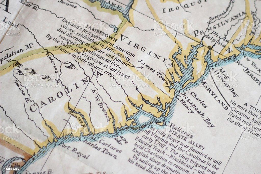 Antique Map Close-up stock photo