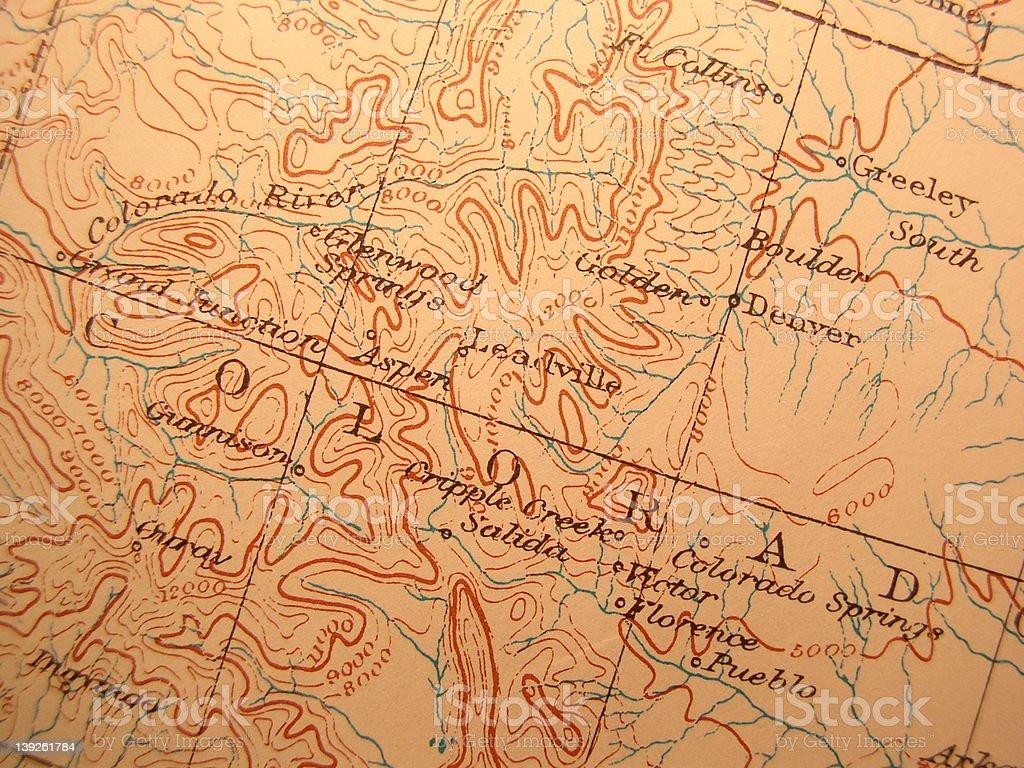Antique map, Colorado stock photo