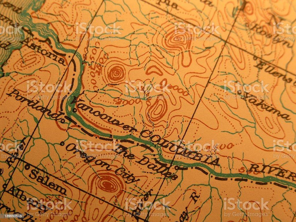 Antique map, Columbia River - Dalles stock photo