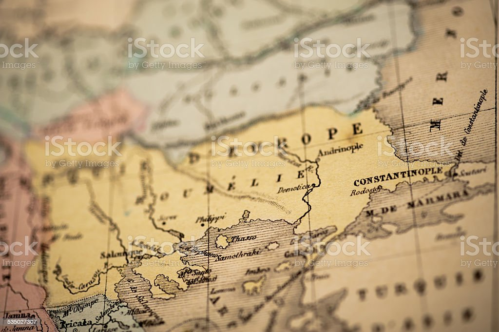Antique Map   Constantinople stock photo