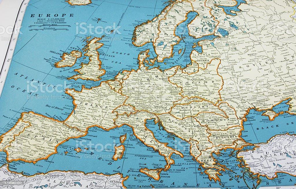 Antique Map Depicting 1942 European Borders stock photo