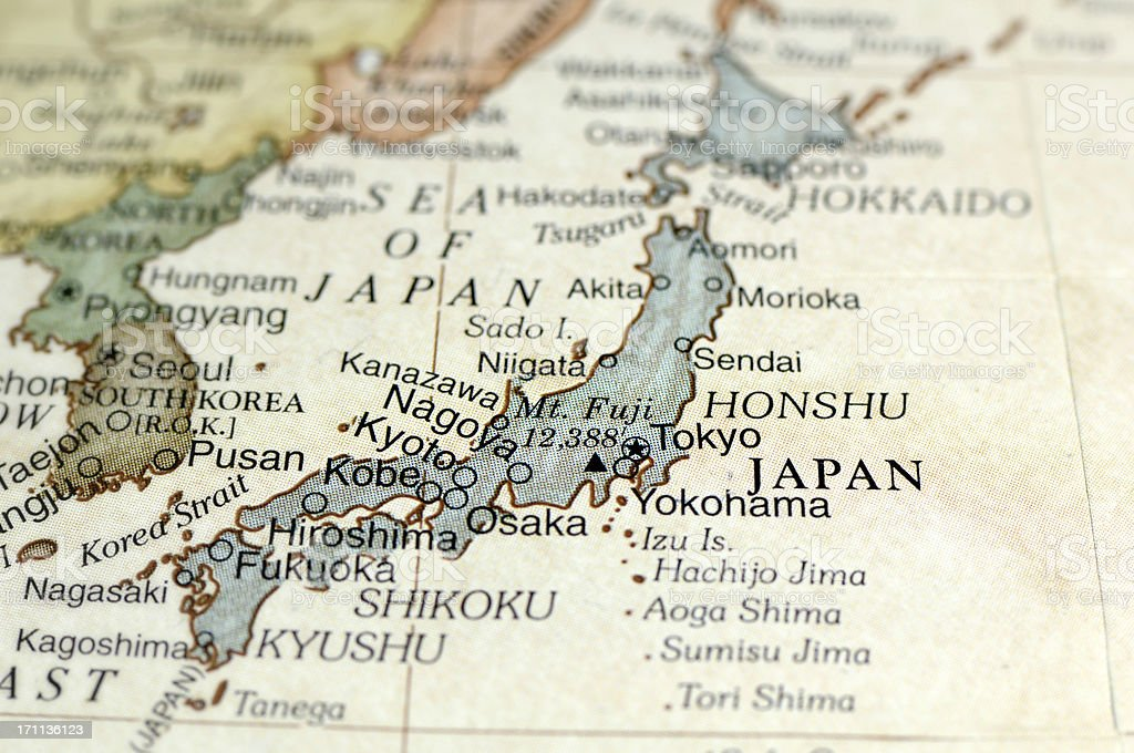 Antique map displaying Japan and surrounding areas stock photo