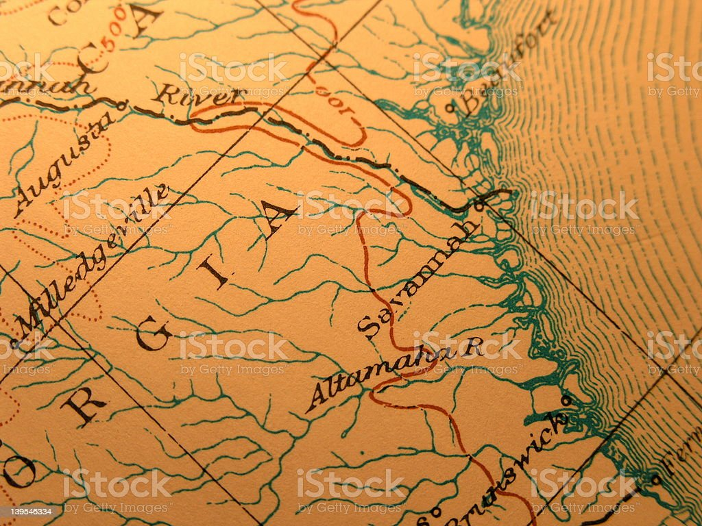 Antique map, Georgia Coast stock photo