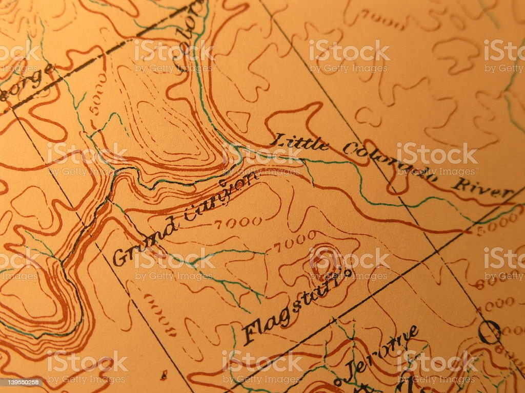 Antique map, Grand Canyon of Arizona stock photo