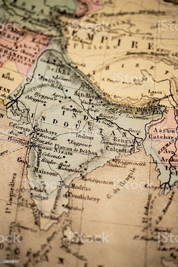 Antique Map   India 1869 stock photo