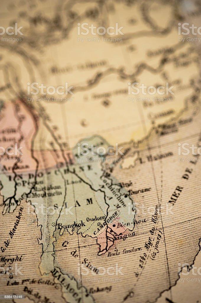 Antique Map   Indochina stock photo