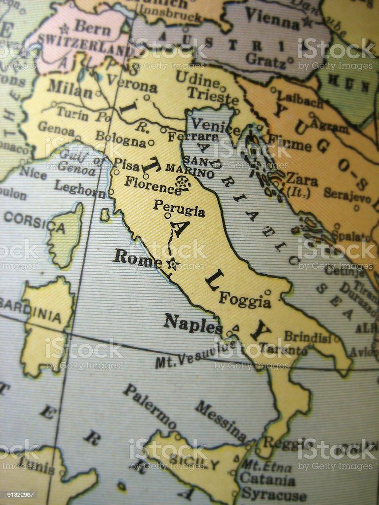 Antique Map Italy stock photo