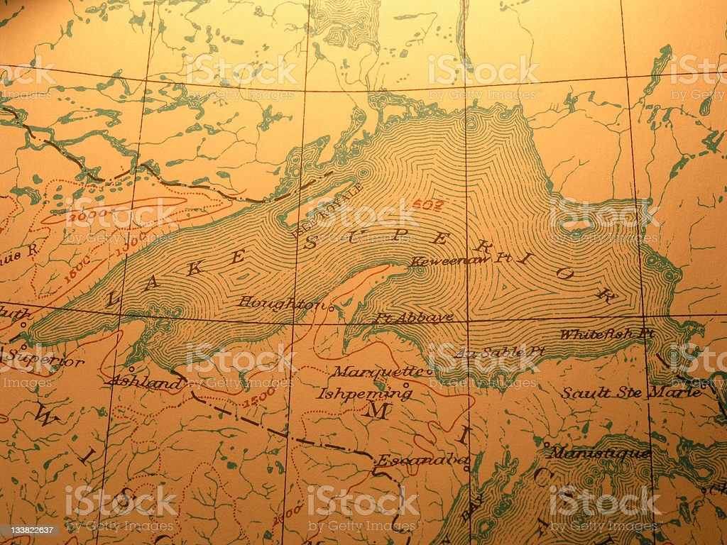 Antique map, Lake Superior stock photo