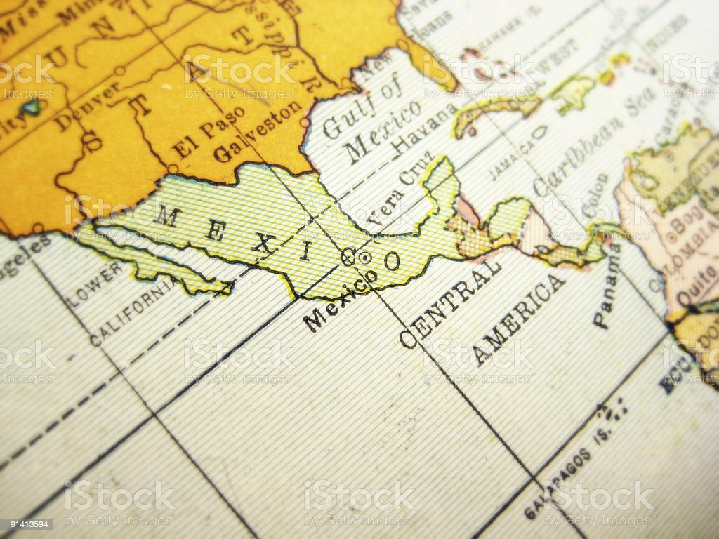 Antique Map Mexico royalty-free stock photo