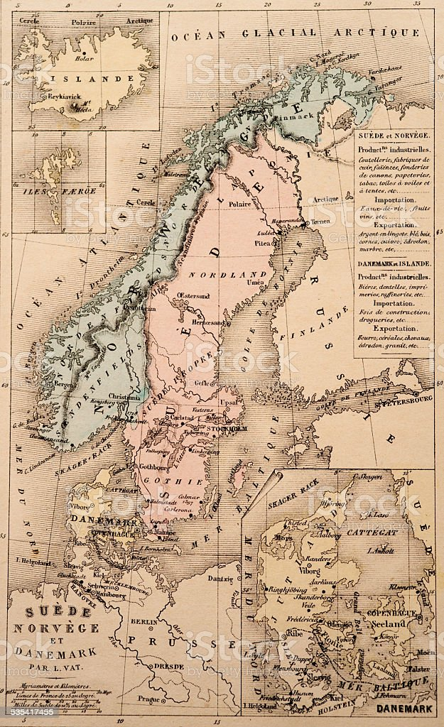 Antique Map | Northern Europe stock photo