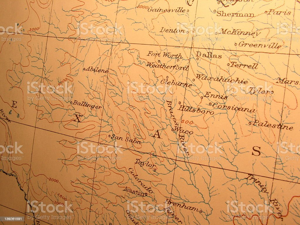 Antique map, Northern Texas stock photo