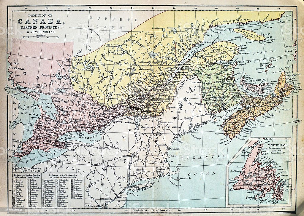 Antique Map of Canada stock photo