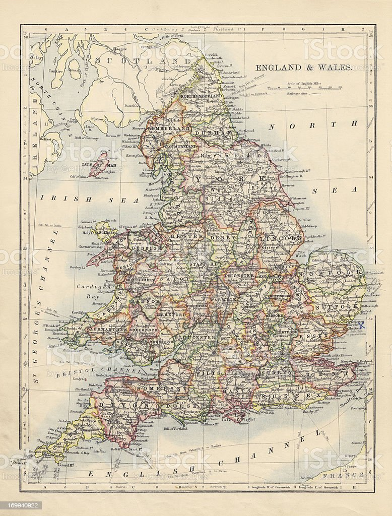 Antique Map Of England & Wales royalty-free stock photo