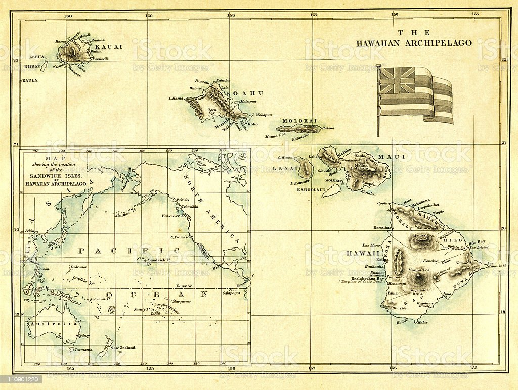 Antique Map of Hawaii stock photo