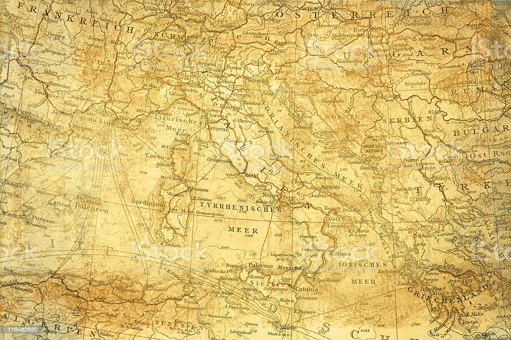 Antique map of Italy Europe,1895. stock photo