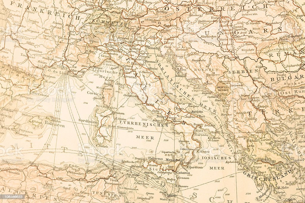 Antique map of Italy,1895. stock photo