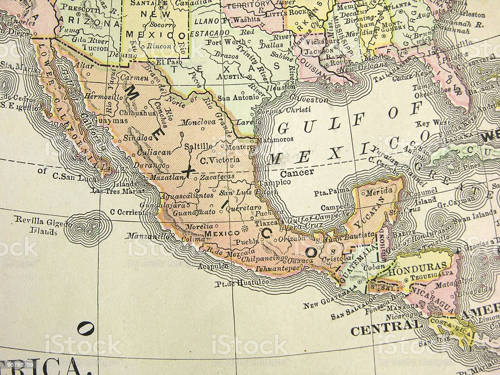 Antique Map of Mexico and Central America stock photo