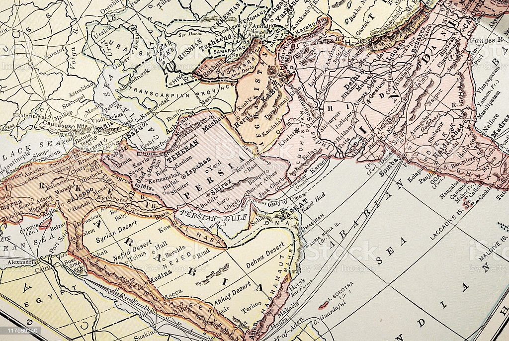 Antique map of Middle East royalty-free stock photo