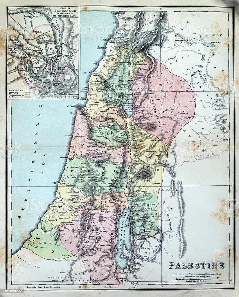 Antique Map of Palestine stock photo