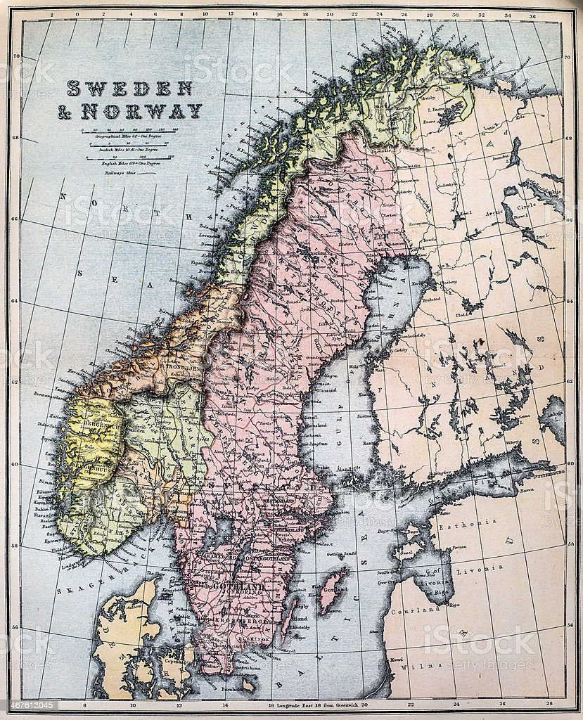 Antique Map of Sweden and Norway stock photo