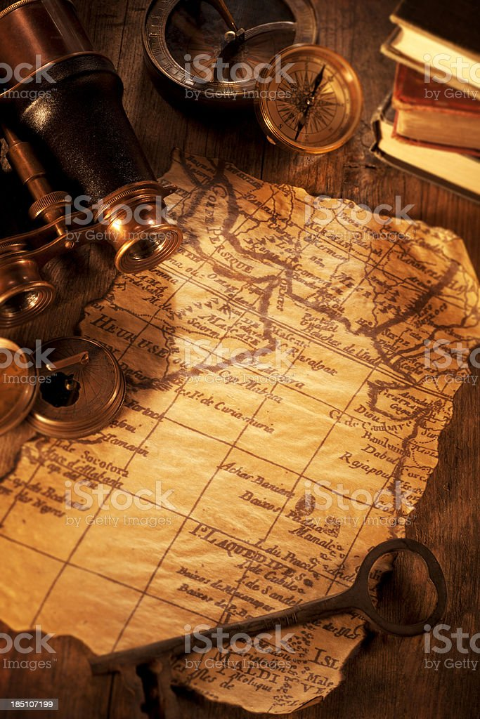Antique Map on a Wooden Desk royalty-free stock photo