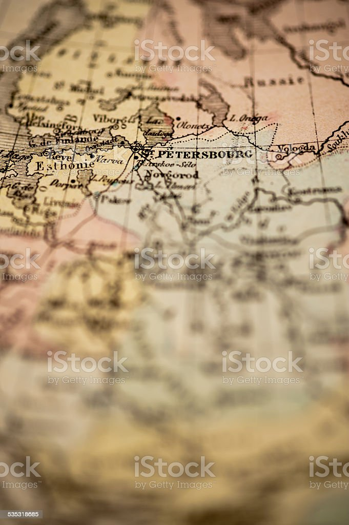 Antique Map | Russia, St Petersburg stock photo