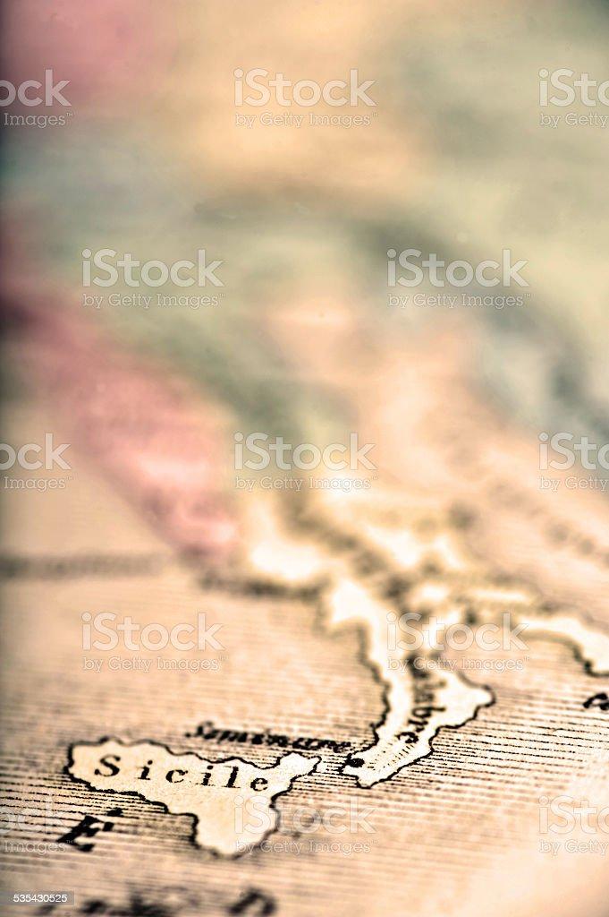Antique Map   Sicily stock photo