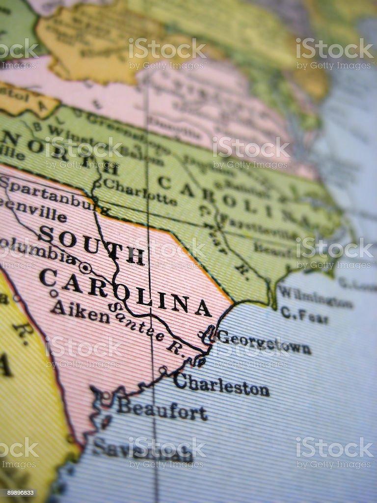 Antique Map South Carolina stock photo