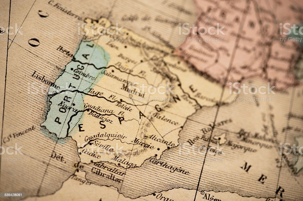 Antique Map | Spain and Portugal 1869 stock photo