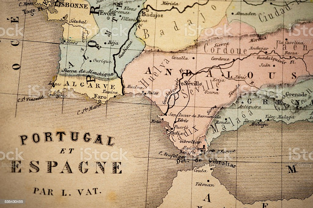 Antique Map   Straight of Gibraltar stock photo
