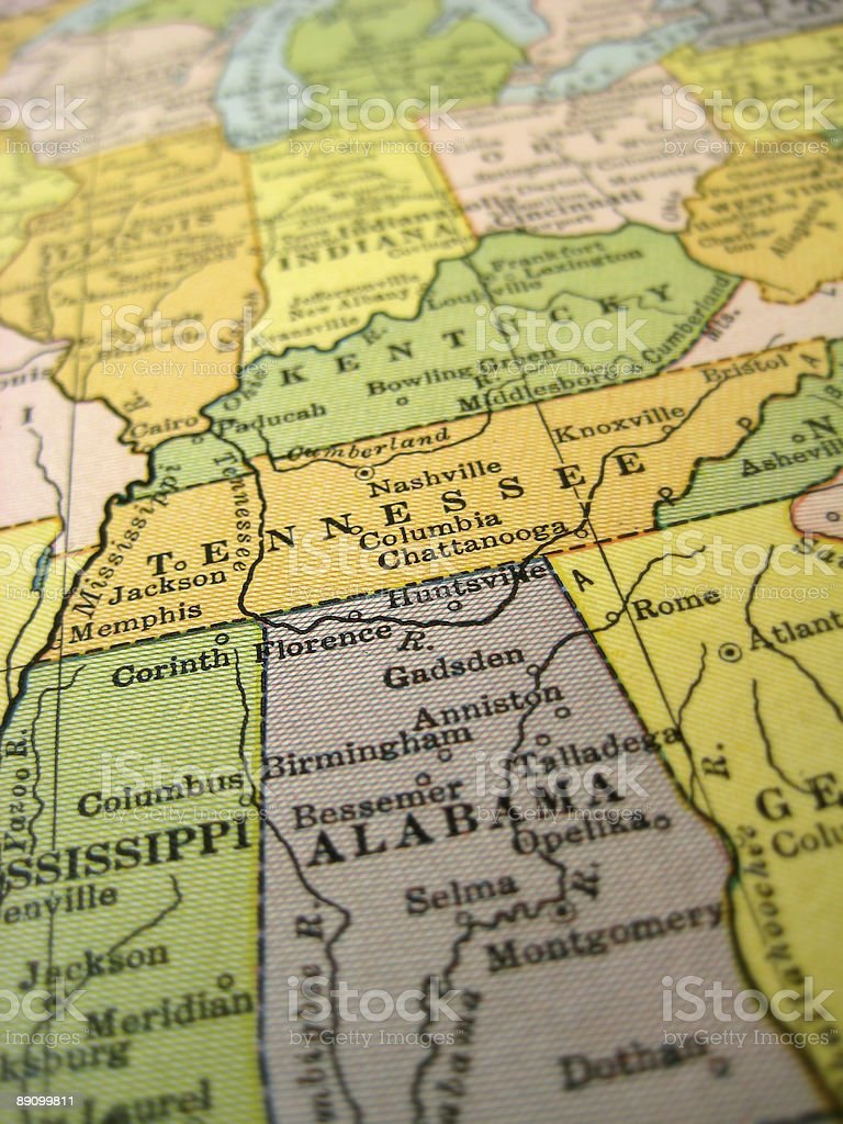 Antique Map Tennessee royalty-free stock photo