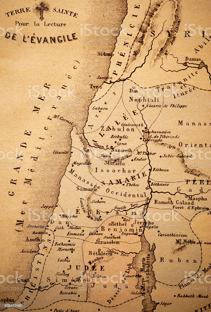Antique Map   The Holy Land stock photo