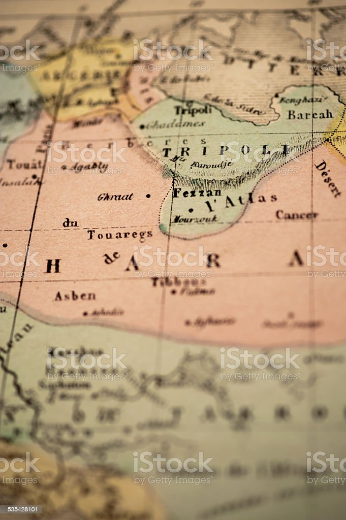 Antique Map   Tripoli, Libya stock photo