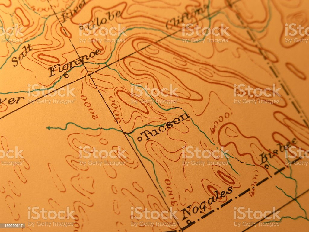 Antique map, Tucson Arizona stock photo