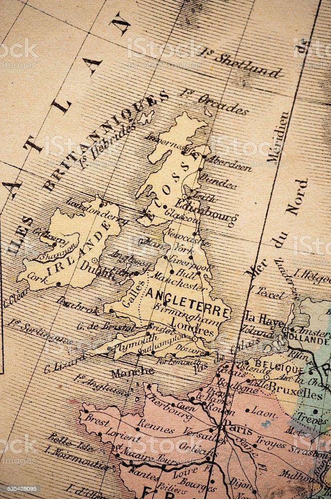 Antique Map   United Kingdom 1869 stock photo