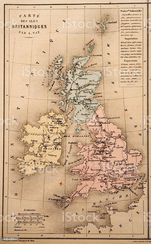 Antique Map   United Kingdom stock photo