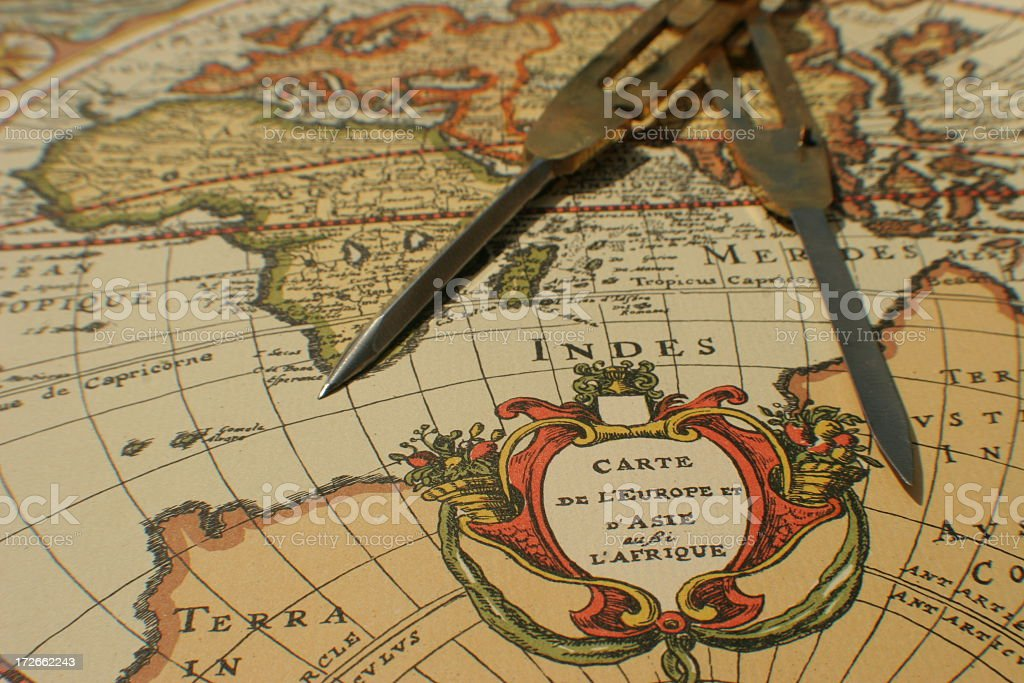 Antique map with compass stock photo