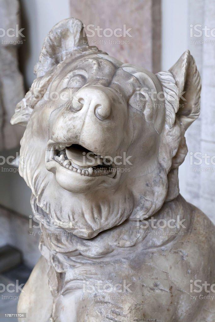 antique marble dog sculpture stock photo