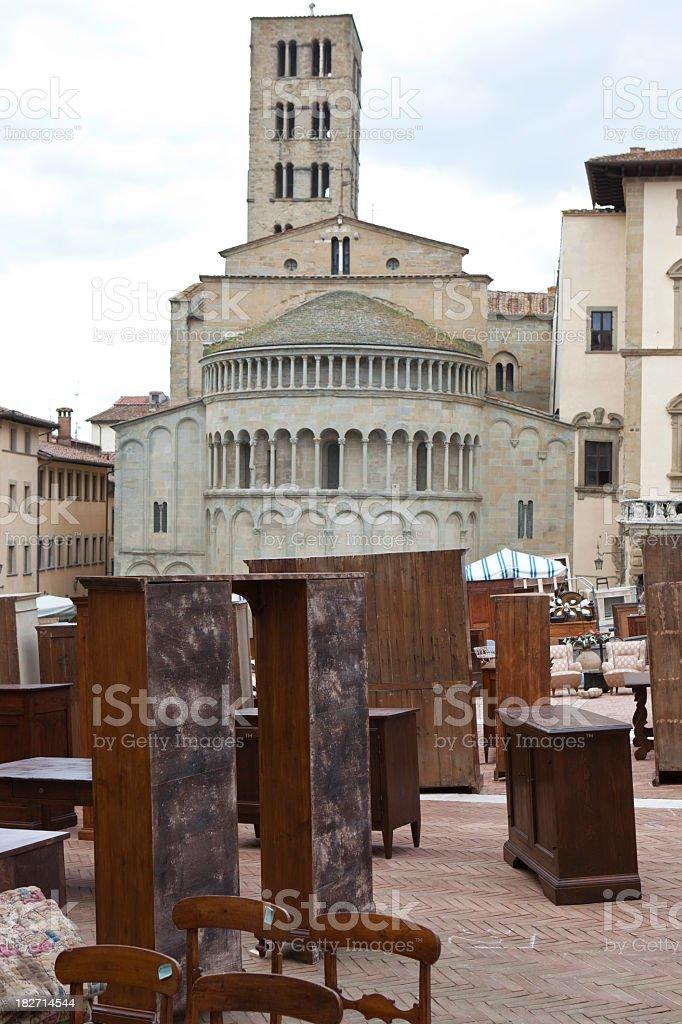 Antique market in Arezzo, Italy royalty-free stock photo