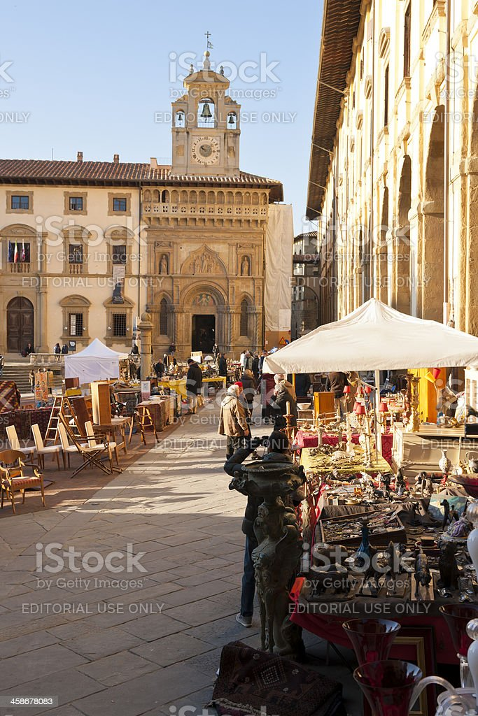 Antique Market of Arezzo in Tuscany royalty-free stock photo