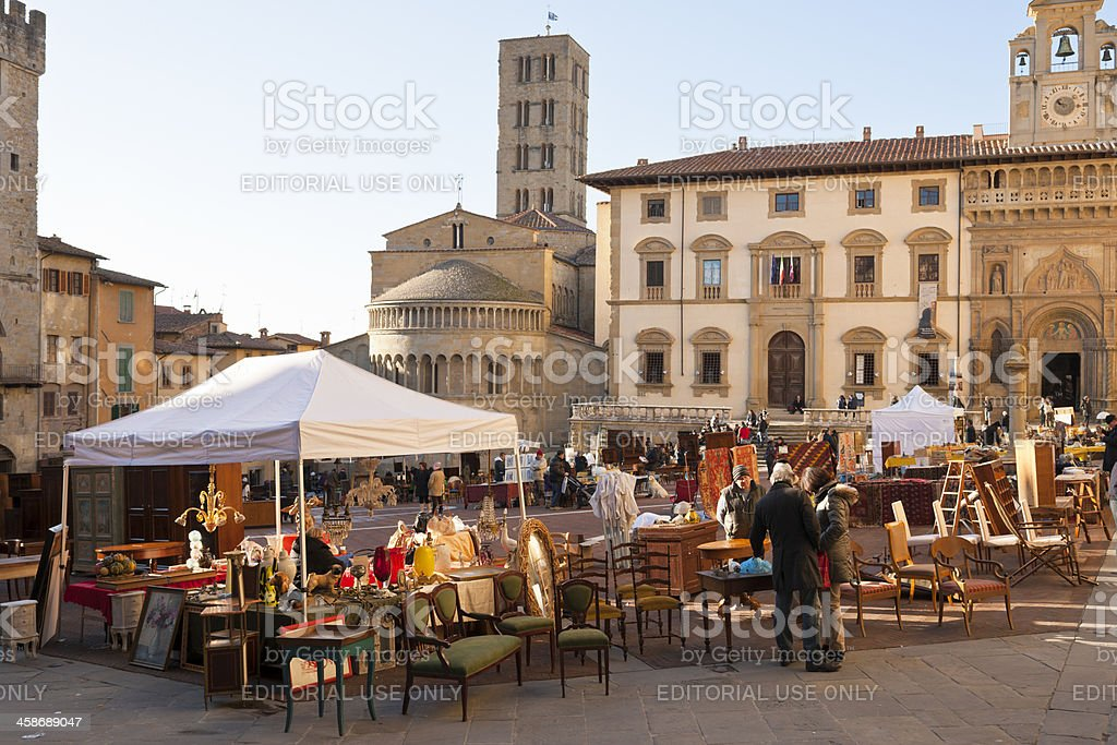 Antique Market of Arezzo in Tuscany stock photo
