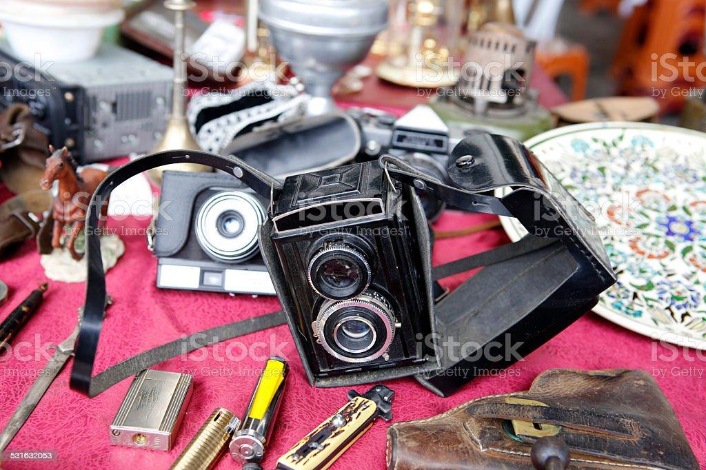 antique market stock photo